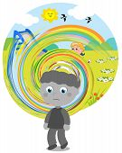 Boy affected by autism with perception difficulties. poster