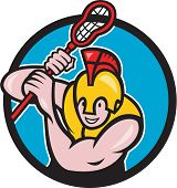 Illustration of a gladiator lacrosse player wearing spartan helmet holding lacrosse stick viewed from front set inside circle done in cartoon style. poster