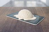 Mental degradation concept with brain melting on tablet placed on dark wooden desktop. 3D Rendering poster