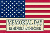 Happy Memorial Day background template. Happy Memorial Day poster. Remember and honor on top of American flag. Patriotic banner. Vector illustration. poster