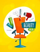 Beauty salon poster template with hair care tools, cartoon vector illustration poster