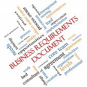 Business Requirements Document Word Cloud Concept angled with great terms such as solution quality project baseline and more. poster