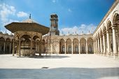 landmark of courtyard of muslim Ottoman Mosque of Muhammad Ali public monument also named Alabaster Mosque from year 1848 in Saladin old town in Cairo city Egypt Africa poster
