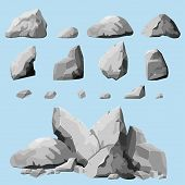 Set of stones, rock elements different shapes and shades of gray, cartoon style boulders set, flat design, isometric stones on white background, you can simply regroup rocks, vector poster