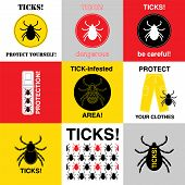 Vector insect tick set. Dangerous tick parasite area. Vector mite beetle. Tick icon isolated. Vector tick bug silhouette. Tick parasite warning sign. Ticks protection. Mite skin parasite. poster