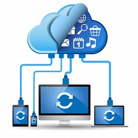 Multiple devices connected to the cloud.  Laptop, desktop, smartphone, and tablet with sync symbol and cloud applications.