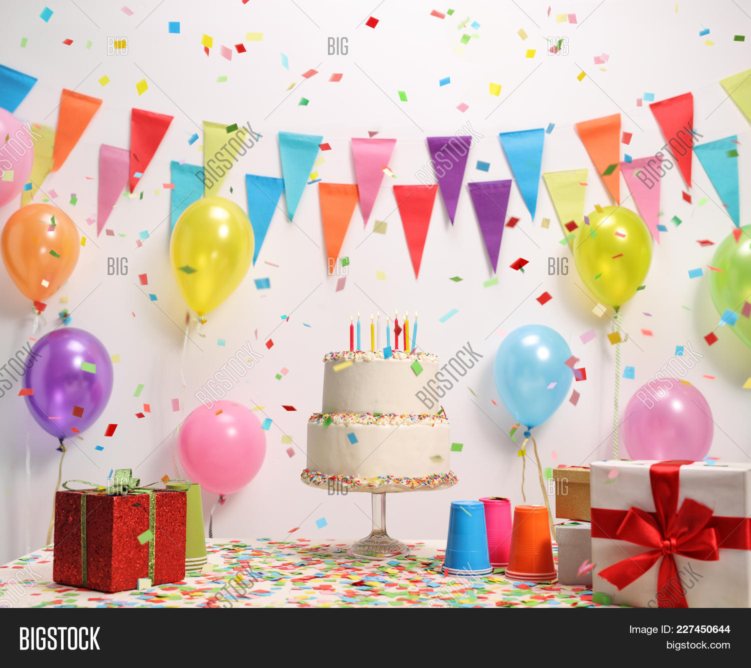 Birthday Cake On Table Image Photo Free Trial Bigstock