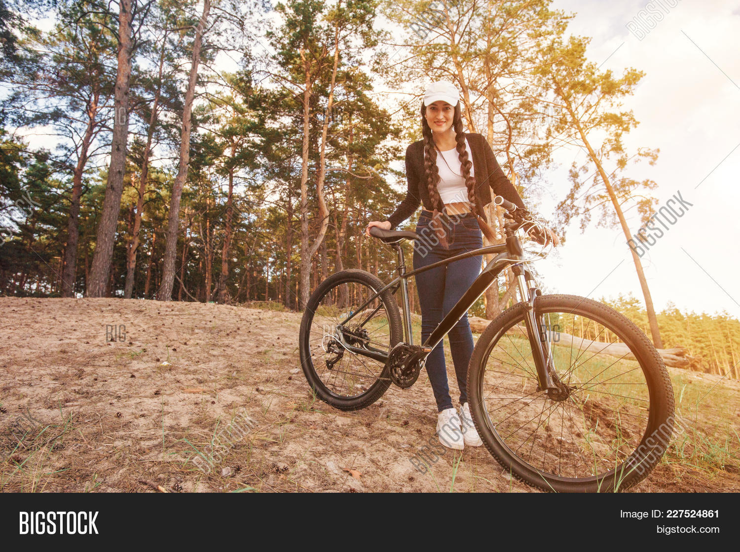 Bicyclist Female On Image Photo Free Trial Bigstock