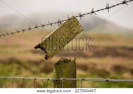 A Broken Fence Near Carlton Bank In The North York Moors National Park, North Yorkshire, Uk