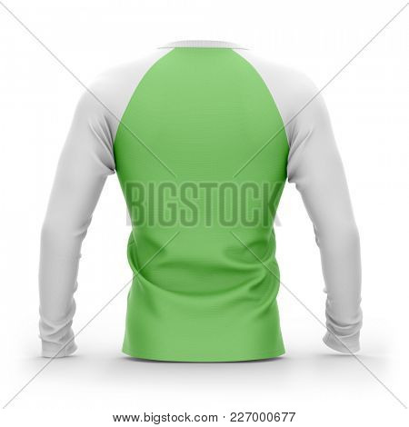 Men's green t shirt with long white raglan sleeves. 3d rendering. Isolated on white background. Clipping paths included: whole object, collar, sleeves.