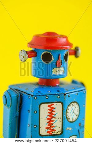 A vintage wind up toy robot