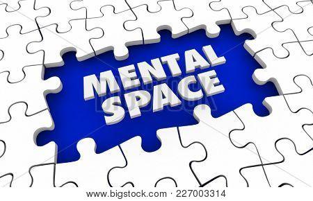 Mental Space Puzzle Pieces Hole 3d Illustration