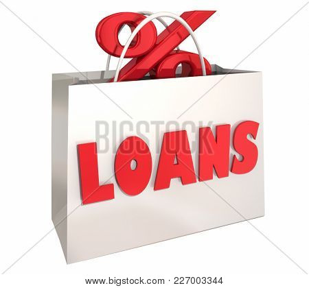 Loans Shopping Bag Best Interest Rate Comparison 3d Illustration