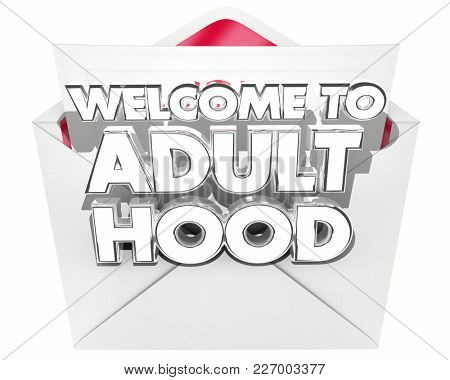 Welcome to Adulthood Message Note Envelope 3d Illustration