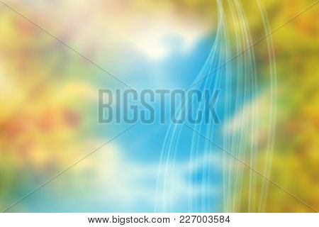Colored background with shiny lines against branches and leaves