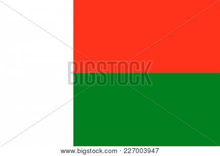 Flag of Madagascar. Symbol of Independence Day, souvenir sport game, button language, icon.