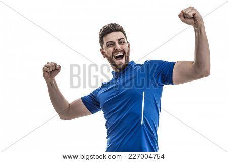 Fan / Sport Player on blue uniform celebrating