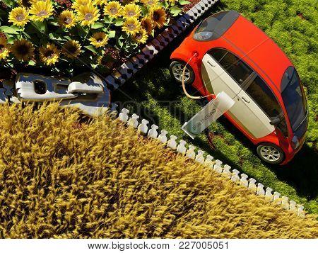 Environmental vehicle refueling..3d render