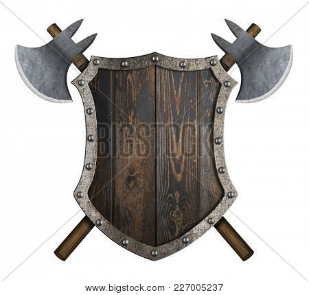 Wooden medieval shield with crossed axes 3d illustration