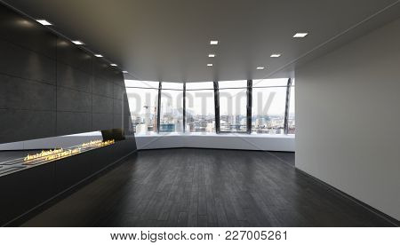 Unfurnished spacious room with large windows in modern apartment. 3d Rendering.