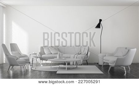 Sofas with armchairs and table in spacious bright minimalist modern living room. 3d Rendering.