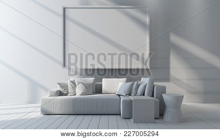 Monochromatic white living room interior mock up with blank picture frame on the wall, generic sofa and cushions and wooden floor. 3d Rendering.