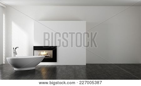 Spacious minimalist bright bathroom with bathtub and fireplace. 3d Rendering.