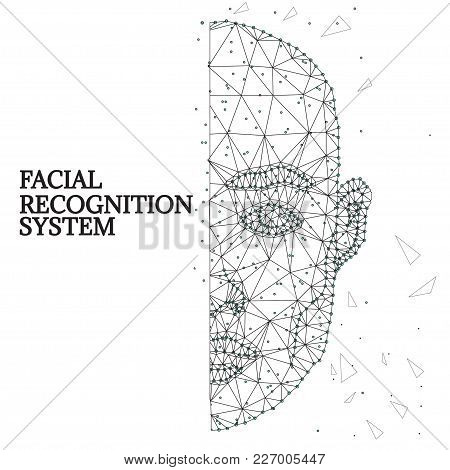 Illustration Of Human Face Consisting Of Polygons, Dots And Lines, Isolated On Futurustic White Back