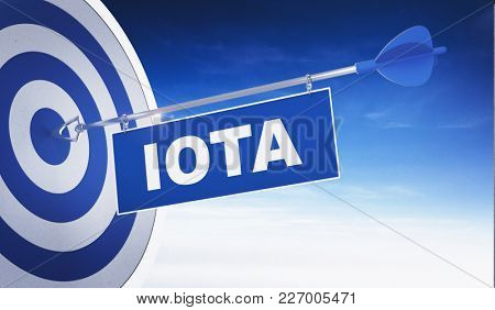 Arrow with IOTA sign in the middle of target viewed against blue sky. 3d Rendering.