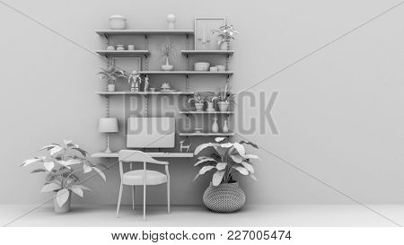 Monochrome white mock up of an office interior with wall shelves, chair, computer and potted plants against a wall in a spacious room. 3d Rendering.