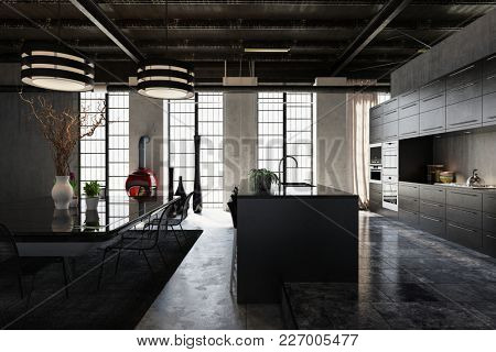 Large spacious modern industrial loft conversion with stylish fitted kitchen with bar counter and a separate dining area with table and chairs lit by large windows. 3d rendering
