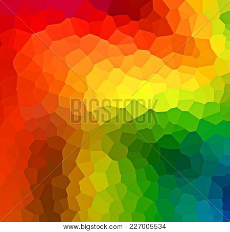 Bright rainbow colored geometric background abstract pattern with irregular polygonal shapes in graduated colors of the spectrum
