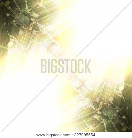abstract musical background with rays in the dark