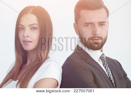 Portrait of business people back to back against white backgroun