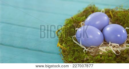 Close-up of violet Easter eggs against blue wood background