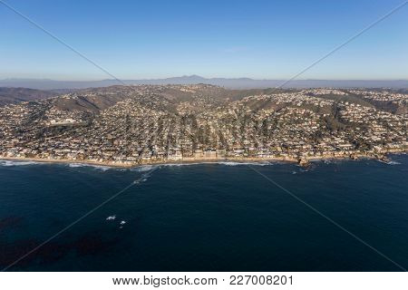 Aerial cityscape view of Laguna Beach on the Orange County south of Los Angeles California.