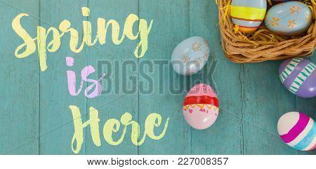 Easter greeting against various easter eggs arranged in wicker basket