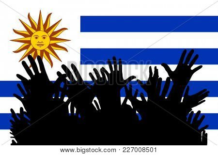 Hands up silhouettes on a Uruguay flag. Crowd of fans of soccer, games, cheerful people at a party. Banner, card, poster.