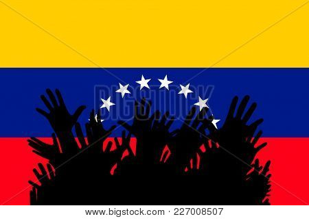 Hands up silhouettes on a Venezuela flag. Crowd of fans of soccer, games, cheerful people at a party. Vector banner, card, poster.