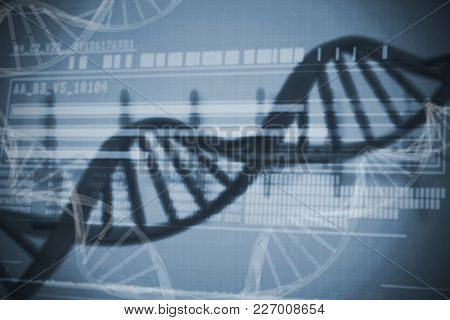Genetic research information on DNA over white background