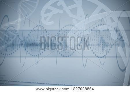Red dotted helix pattern of DNA against white background