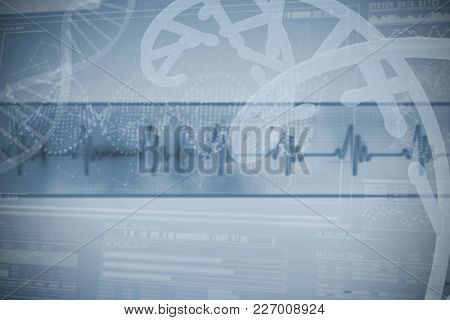 Panoramic view of DNA helix pattern on device screen over white background