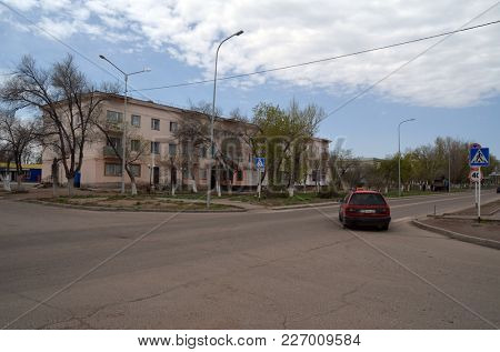 Residential buildings of 60-th.Former Soviet anti-ballistic missile testing range.West Bank of Balkhash Lake.May 8, 2017.Sary Shagan.Kazakhstan