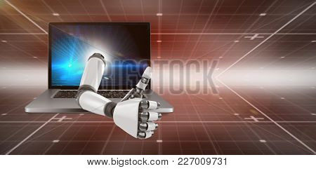 3D Robotic arm showing thumbs up against hexagon pattern on technical background with binary code