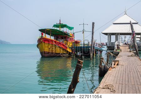 KO CHANG, THAILAND - FEB 15, 2018: View of pier near Bang Bao fishing village, which consists of houses on stilts built into the sea. Ko Chang consisting of 8 villages with 5,356 inhabitants.