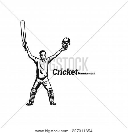 Cricket Batsman Celebrating His Success On White Background With Typography Vector Illustration.