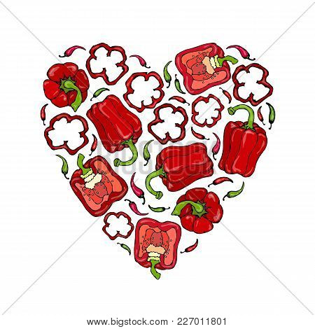 Red Bell Peper Heart Shape Wreath. Half Of Sweet Paprika And Rings Of Pepper Cuts. Fresh Ripe Raw Ve