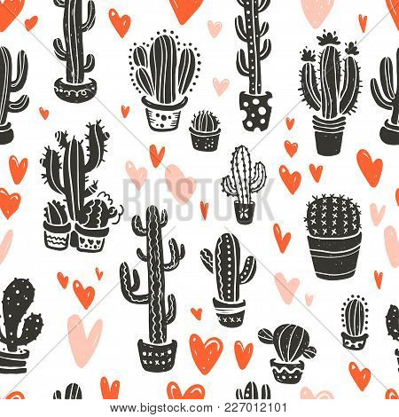 Vector Seamless Pattern With Hand Drawn Cactus Elements & Hearts Isolated On White Background. Flora