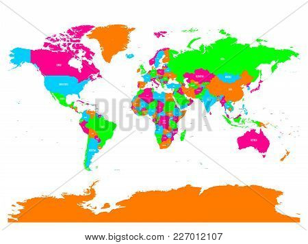 Colorful Vector Political Map Of World With Country Names And Capital Cities.