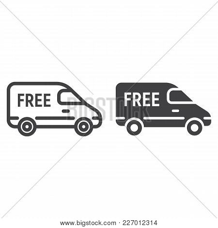 Delivery Van Line And Glyph Icon, Logistic And Delivery, Vehicle Sign Vector Graphics, A Linear Patt